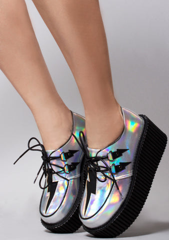 High Voltage Creeper Platform Sneakers in Silver Hologram