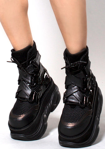 Demonia Neptune Squad Platform Sneakers in Black