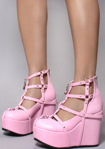 Demonia Poison Caged Wedge Platform Heels in Pink