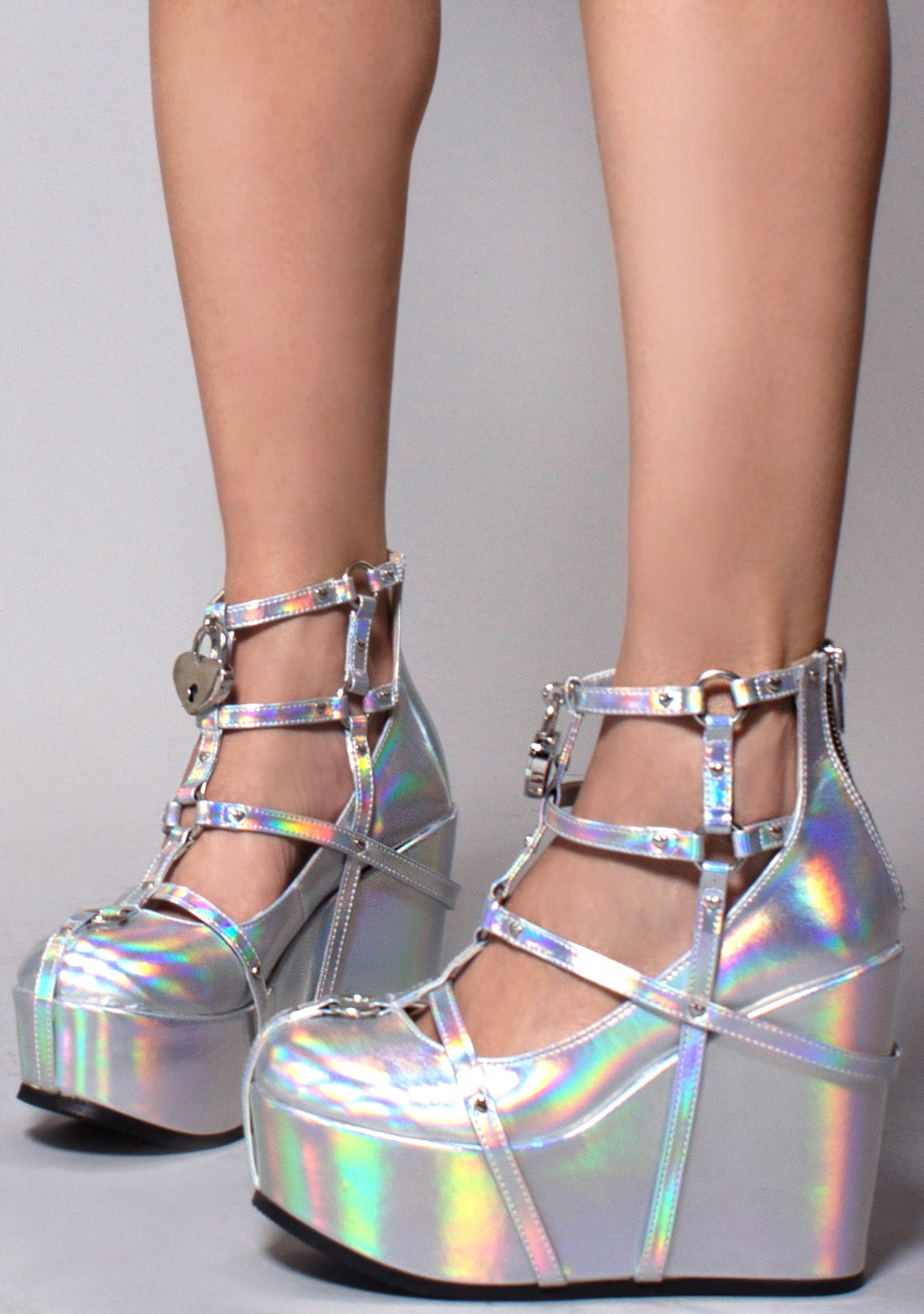 Demonia Poison Caged Wedge Platform Heels in Silver Hologram
