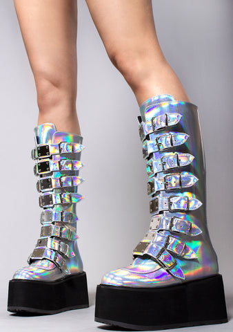 Demonia Queen of the Damned Platform Boots in Silver Hologram
