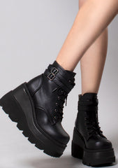 Demonia Shaker Platform Boots in Black