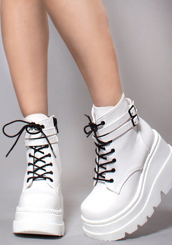 Demonia Shaker Platform Boots in White