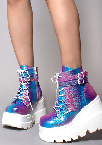 Demonia Shaker Metallic Iridescent Platform Boots in Pink Purple