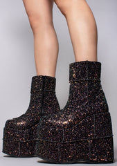 Demonia Stack Galaxy Stardust Platform Boots in Black Glitter