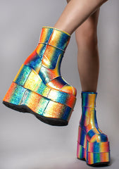 Demonia Stack Starlight Platform Boots in Metallic Rainbow