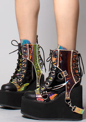 Demonia Swing Harness Platform Boots in Black/Atlantis