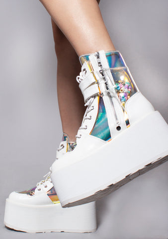 Demonia Swing Kandy Krush Platform Boots in White Atlantis