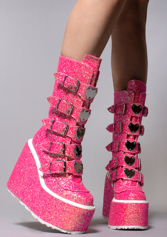 Demonia Swing Strapped Hi Platform Boots in Bubble Gum Pink Glitter