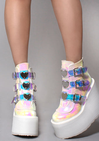 Demonia Swing Strapped Platform Boots in Iridescent Pearl