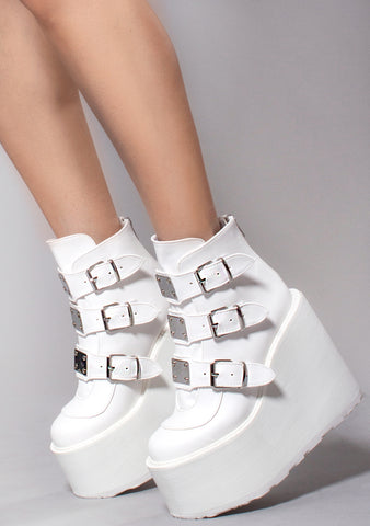 852f4814e518 Swing Strapped Platform Boots in White