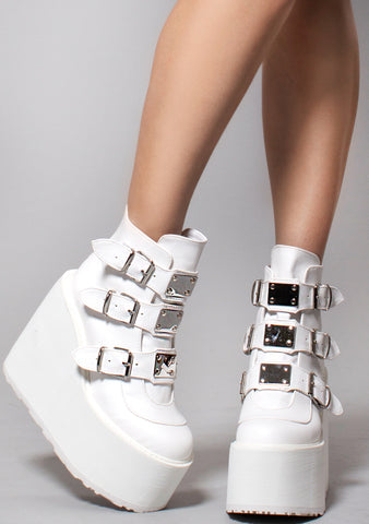 Demonia Swing Strapped Platform Boots in White