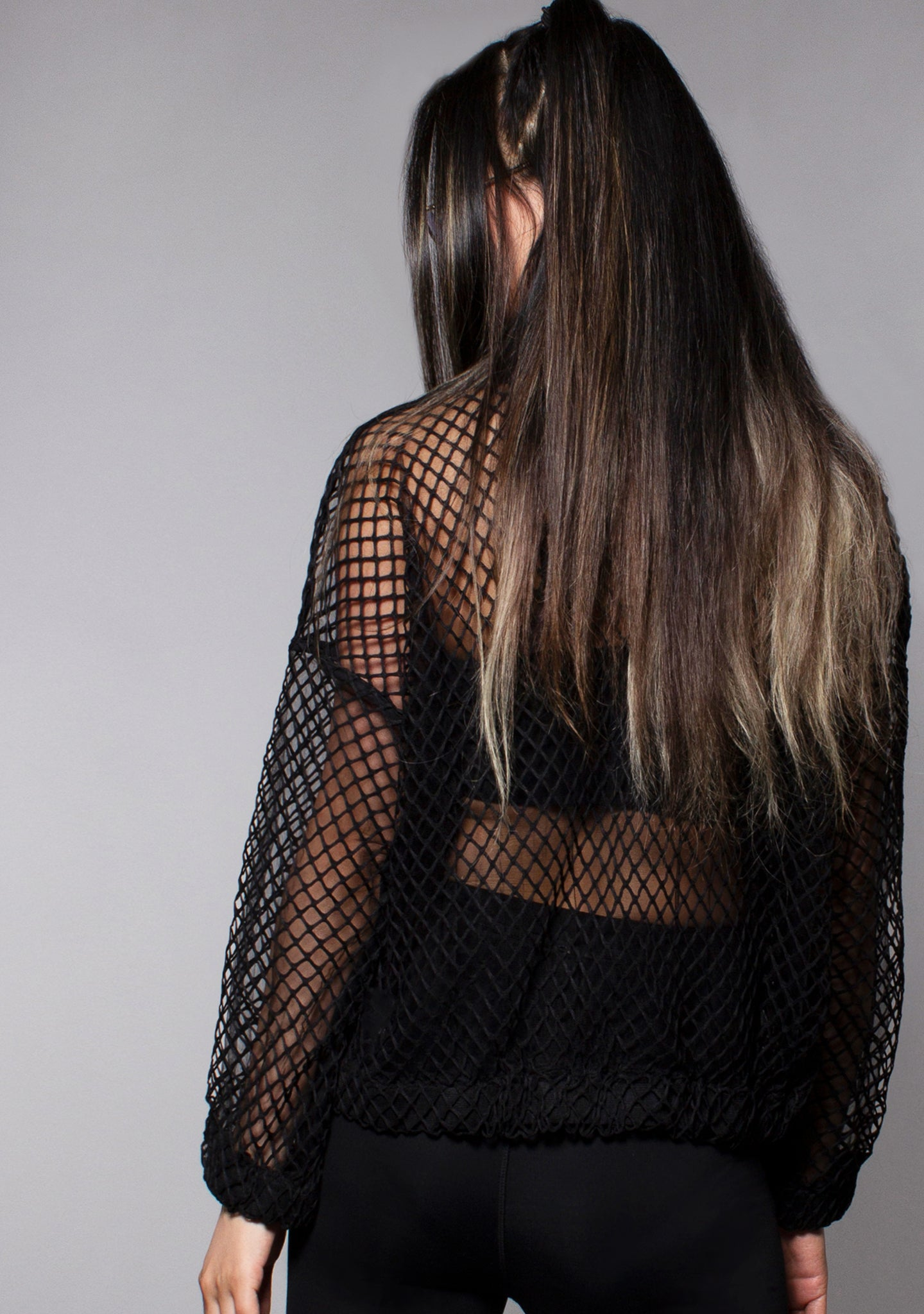 Don't Mesh With Me Bomber Jacket in Black