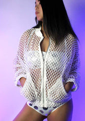 Don't Mesh With Me Bomber Jacket in White