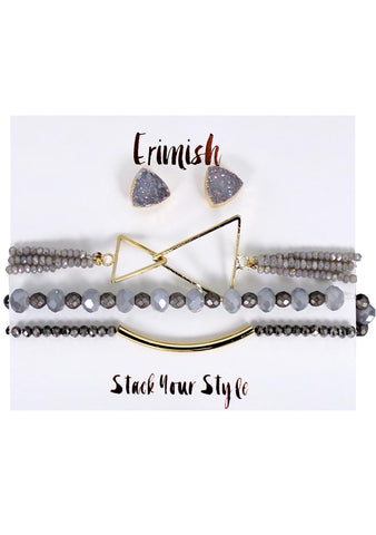 Erimish Dusk Earrings & Bracelet Stack Set