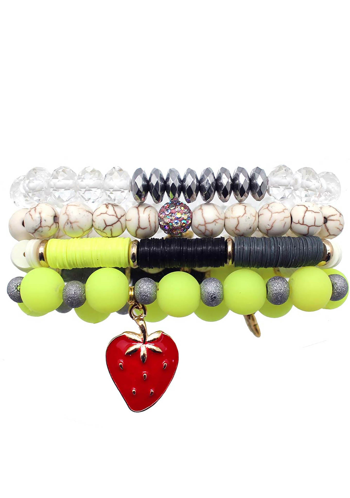 Erimish Gem Jam Strawberry Fields Bracelet Stack