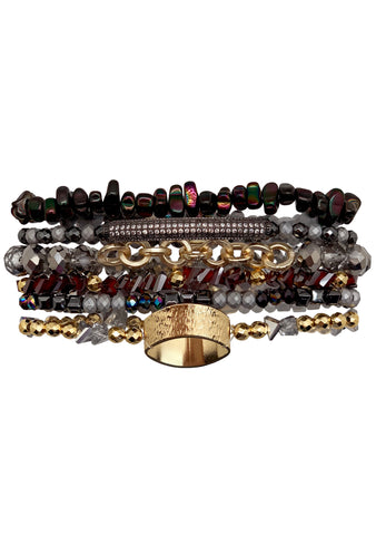 Rainbow Metal Gypsy Stack Bracelet