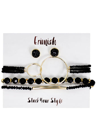 Erimish Midnight Earrings & Bracelet Stack Set