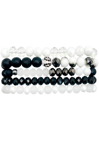 Total Eclipse Black and White Bracelet Stack