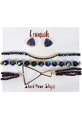 Erimish Twilight Earrings & Bracelet Stack Set