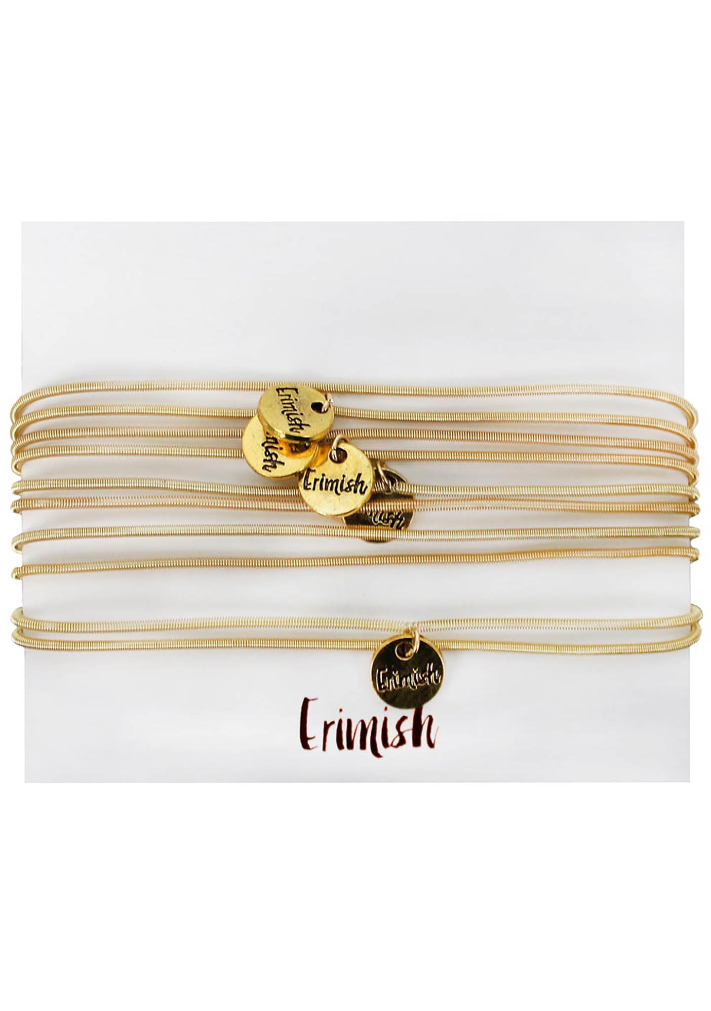 Erimish Gold Wanderlust Bracelet Stack in Pink/Red