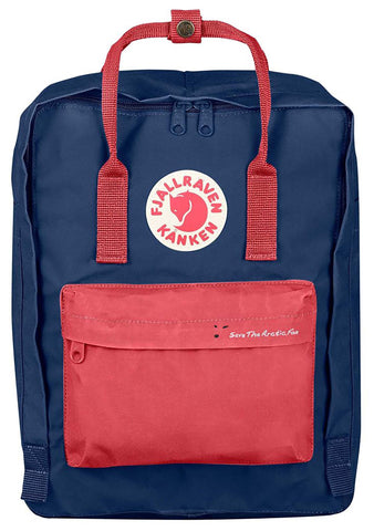 Save The Arctic Fox Kanken Backpack in Royal Blue/Peach