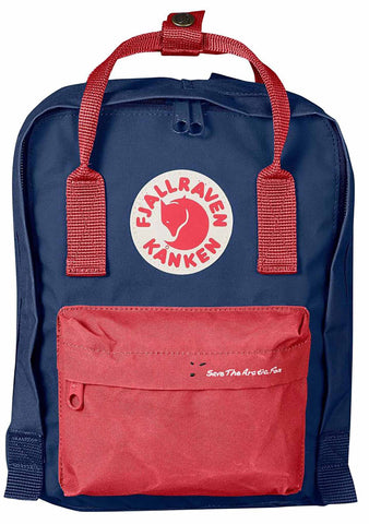 Fjallraven Save The Arctic Fox Kanken Mini Backpack in Royal Blue/Peach