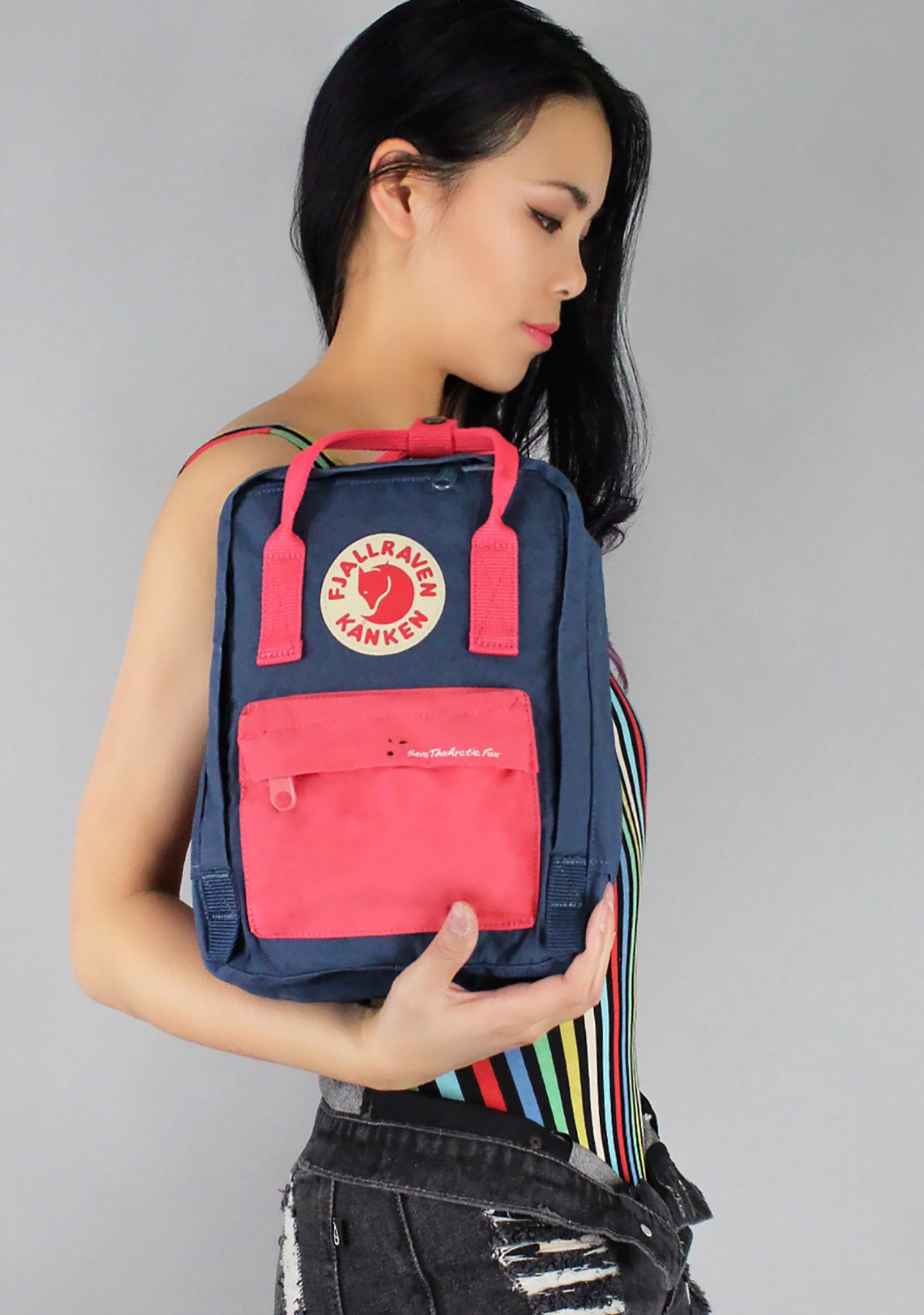 Save The Arctic Fox Kanken Mini Backpack in Royal Blue/Peach