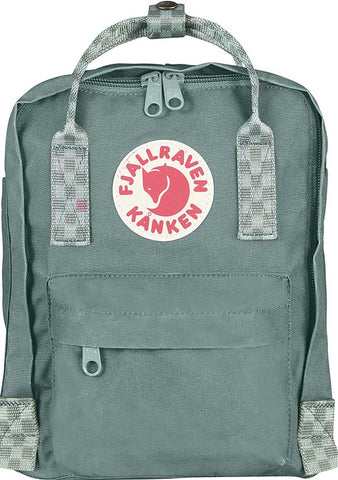 Fjallraven Kanken Mini Backpack in Frost Green/Chess Pattern