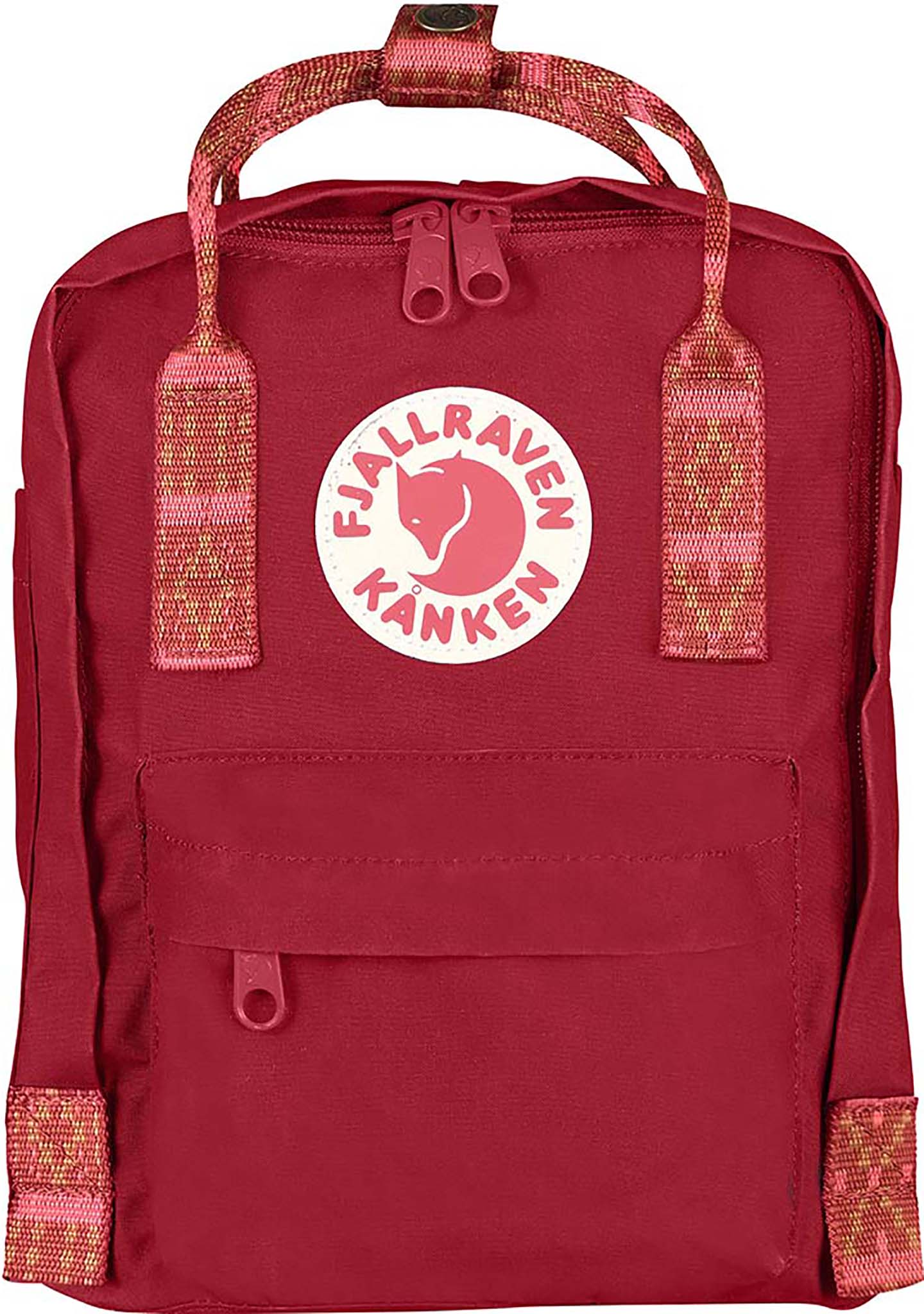 Fjallraven Kanken Mini Backpack in Deep Red/Folk Pattern