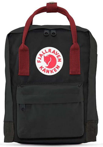 Fjallraven Kanken Mini Backpack in Black-Ox Red