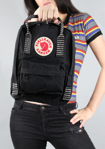 Fjallraven Kanken Mini Backpack in Black Striped