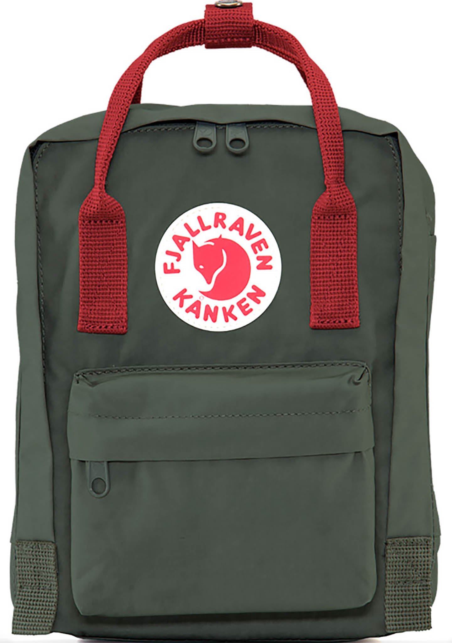 Fjallraven Kanken Mini Backpack in Forest Green/Ox Red