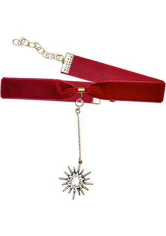 Frasier Sterling Saturday Night Fever Starburst Choker in Maroon