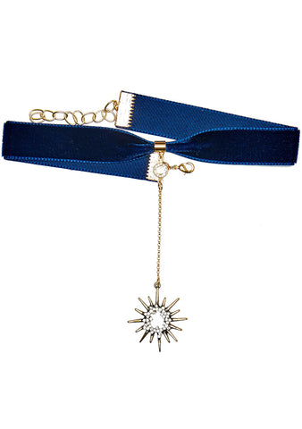 Frasier Sterling Saturday Night Fever Starburst Choker in Navy
