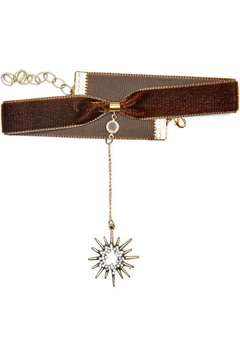 Frasier Sterling Saturday Night Fever Starburst Choker in Olive