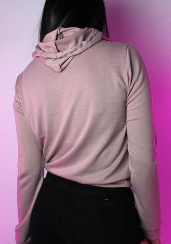 Good Vibes Pull Over Crop Hoodie in Pink