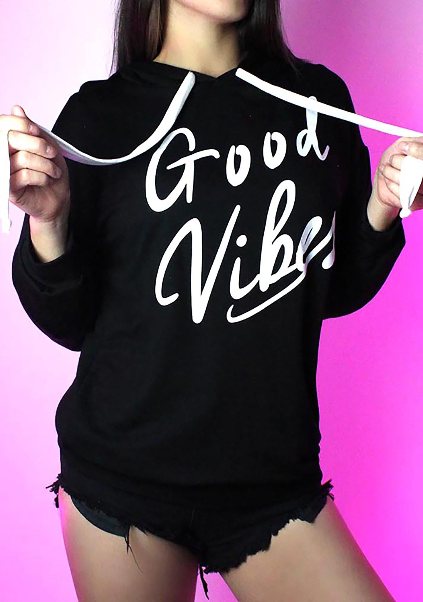 Good Vibes Pull Over Hoodie in Black