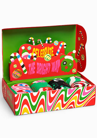 Psychedelic Candy Cane Socks Gift Box Set