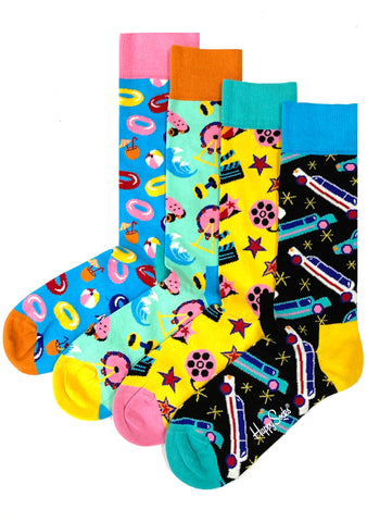 Happy Socks LA Edition Men's Limited Edition 4PK Gift Set