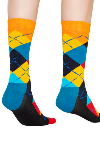 Happy Socks Argyle Party Socks in Blue/Red