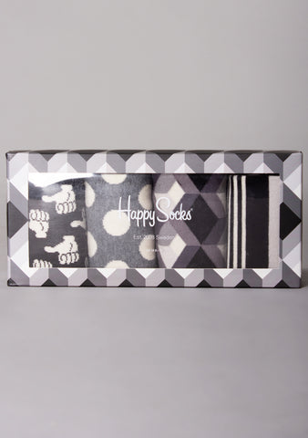 Black and White 4PK Socks Gift Set