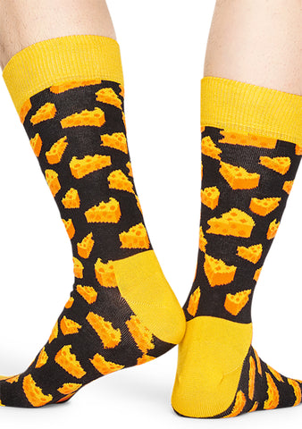 Happy Socks Cheese Socks in Black/Yellow