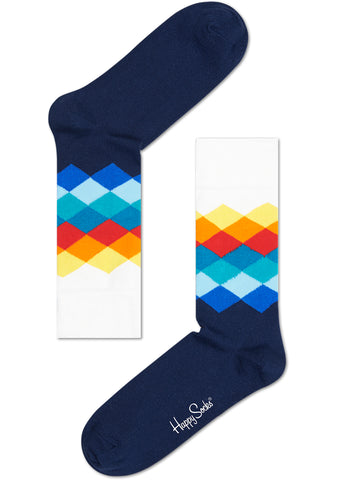 Happy Socks Faded Diamond Socks in Navy/Combo