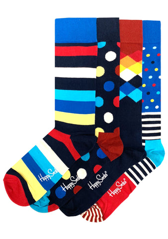 Happy Socks Holiday Stripe Men's Sock 4PK Gift