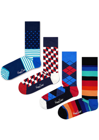 Happy Socks Stripe Dot Men's 4PK Socks Set