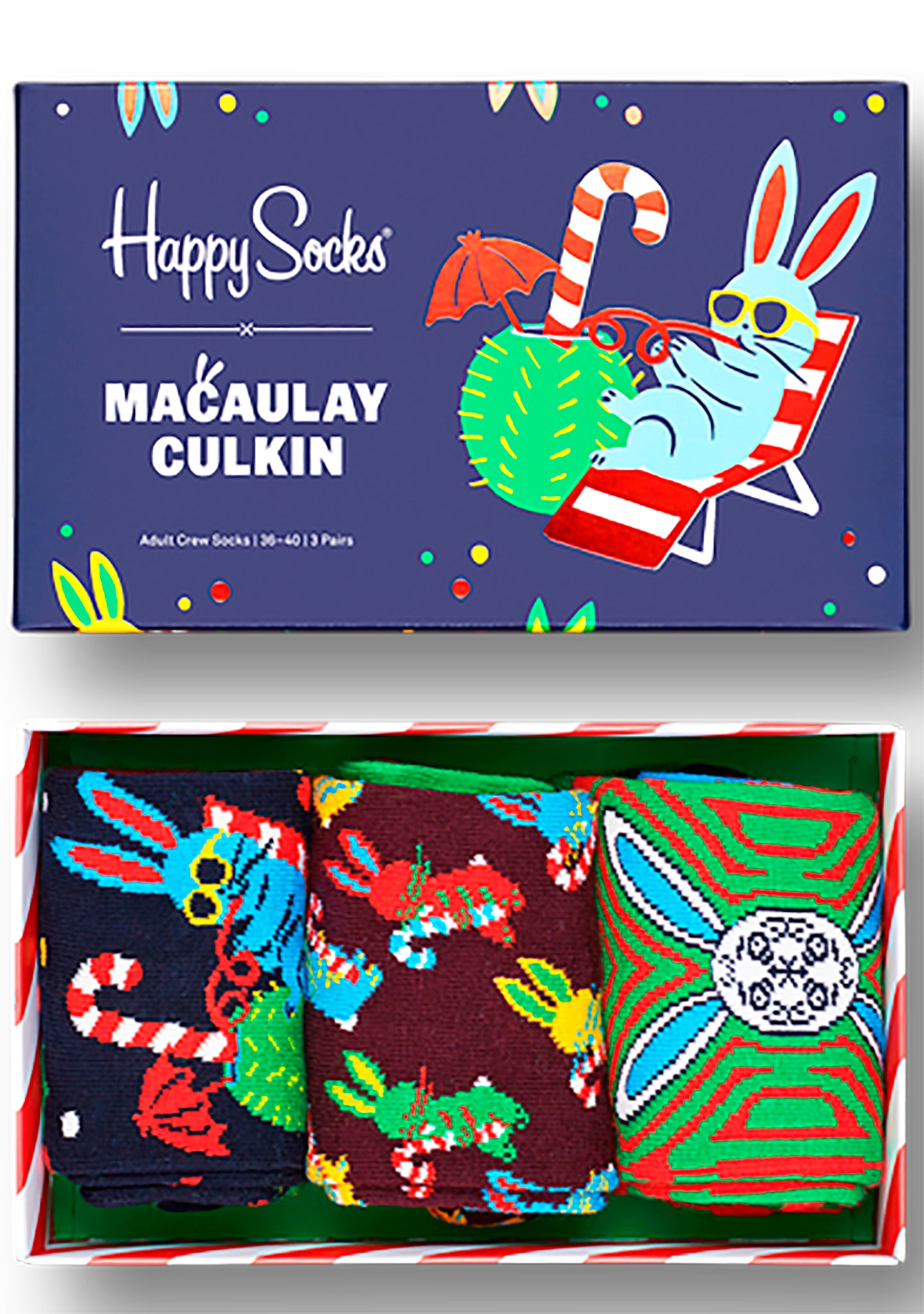 X Macaulay Culkin Christmas Rabbit 3PK Socks Gift Box Set