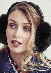 HIPANEMA X AMENAPIH Russia Faux Fur Ear Muffs in Black