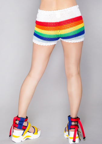 Rainbow Road Crochet Shorts