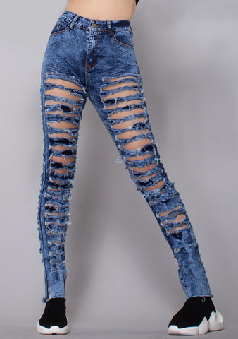 Trouble Maker Distressed Denim Pants